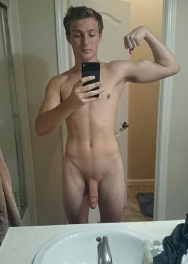 Nude Teen Boy Flexing His Little Biceps - Just Cock Pictures